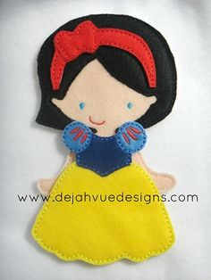 Non Paper Dolls offered by Stone House Stitchery **Outfit Only** Snow White Dress And Headband Felt Embroidery Design