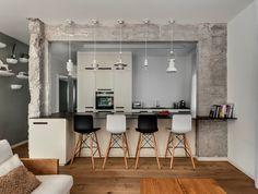 Kitchen Modern home  renovation and interior design in Tel Aviv wood floor , concrete and quiet colors Vstudio architect