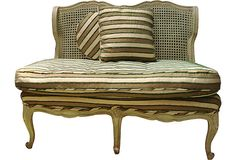 Striped French Settee the style and color are nice for the library...don't argue about it!