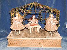 Antique German Mechanical Automaton Wind-up Music Box Doll Zinner & Sohne