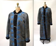 Vintage Embroidered Shearling Afghan Jacket Size by Hookedonhoney