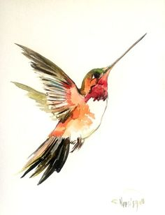 Hummingbird painting, original watercolor painting, flying hummingbird, 12 X 9 in