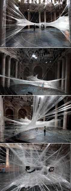 Packing Tape Spiderweb Installation by Viennese/Croatian design collective For Use/Numen. - 21 Works of art using office supplies Land Art, Modern Art, Contemporary Art, Art Public, Instalation Art, Art Sculpture, Metal Sculptures, Abstract Sculpture, Bronze Sculpture