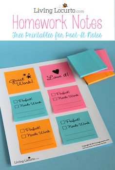 How to Print on Post-It Notes with Cute Free Printables for School Homework. Great back to school idea!