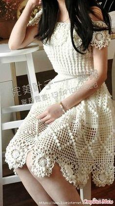 Белое платье для романтического настороения - Все в ажуре... (вязание крючком) - Страна Мам