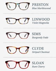 Warby Parker Glasses - Preston Blue Marblewood, Linwood Violet Magnolia, Sims Burgundy Fade, Clyde Striped Chestnut, Sloan Rum Cherry