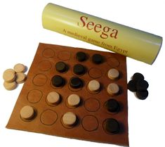 Seega - a game still played in Egypt today, with probable Roman origins; leather board and wooden pieces, with rules and brief history of the game; from The Historic Games Shop Dice Games, All Games, Games To Play, Larp, Kubb Game, Board Game Template, Medieval Games, Fun Outdoor Games, Wood Games