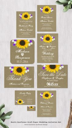 Rustic Country Sunflower Kraft Paper Wedding Invitation Set with a illustrated sunflower design with purple and white accent flowers. The kraft paper is a printed design on your choice of invitation paper.Some items, like the save the date postcard and the thank you notecards, are glossy. Mix and match the items you need.Invitation prices are 40% OFF when you order 100+ Invites. #wedding #sunflowers Country Wedding Cakes, Country Wedding Decorations, Country Fashion, Country Style, Wedding Sunflowers, Kraft Paper Wedding, Sunflower Design, Save The Date Postcards, Invitation Paper