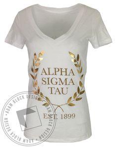 Alpha Sigma Tau Wreath Vneck by Adam Block Design | Custom Greek Apparel & Sorority Clothes | www.adamblockdesign.com