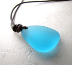 Mens Sea Glass Necklace Seaglass Aqua Turquoise Carribean Unisex Leather AdjustableNecklace Recycled Eco BellinaCreations on Etsy, $35.00