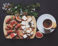 Ideal combination for breakfast. Cheese & figs & nuts