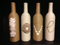 Upcycled wine bottles, love, twine, jute, yarn, buttons