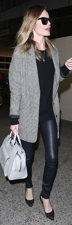Who made  Kate Bosworth's handbag and studded pumps that she wore at LAX airport on March 22, 2013?