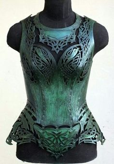 Green metal corset armor - I want to live in the world where fashion looks like this.