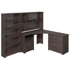 Bush Furniture Cabot Corner Desk with Hutch, Lateral File and 5 Shelf Bookcase