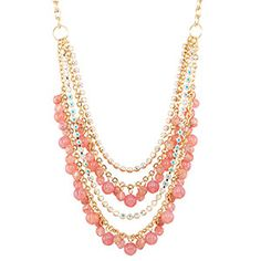 """Necklace- """"Strawberry Ice Multi Strands Beads, Cup Chain found on FusionBeads.com"""