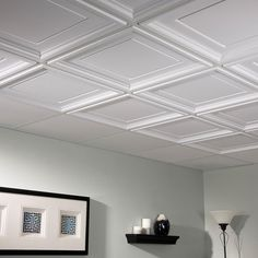For ideas and inspiration on white Genesis ceiling installations, see this ceiling photo gallery. Genesis is the last ceiling system you will ever need. Drop Ceiling Basement, Molding Ceiling, Drop Down Ceiling, Dropped Ceiling, Ceiling Panels, White Ceiling, Drop Ceiling Tiles, Drop Ceiling Makeover, Popcorn Ceiling Makeover