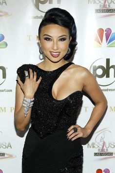 Jeannie Mai wears M.C.L by Matthew Campbell Laurenza earrings and ring to the Miss USA Pageant at the Planet Hollywood Resort and Casino in Las Vegas, Nevada, 2012