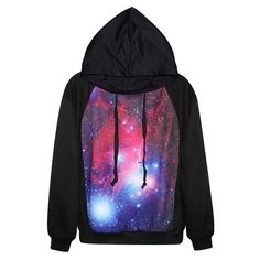 Black Classic Galaxy Ladies Long Sleeves Fancy Hoodie ($31) ❤ liked on Polyvore featuring tops, hoodies, shirts, sweatshirts, sweaters, black, sweatshirt hoodie, long sleeve shirts, black shirt and long sleeve hoodie shirt