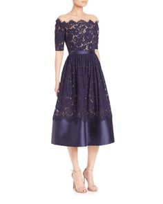 ML Monique Lhuillier | Blue Off-the-shoulder Lace Midi Dress | Lyst