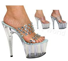 "5"", 6"", 7"" or 8"" Karo's Stud Rhinestones Designer Shoes w/Clear High Heel Platform - Sizes 5-14. #0481 