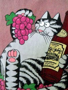 B. Kliban Cat Tee Shirt XL Napa Valley Purple Wine Grapes Bottles 70's Wine Dyed #CrazyShirts #ShortSleeve