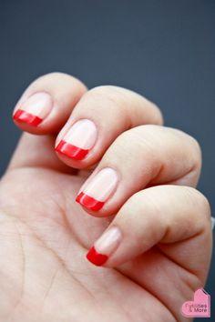 Modern Red French Manicure