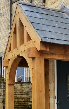 Oak porch with pegged joints