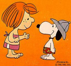 Peppermint Patty and Snoopy in swimsuits.