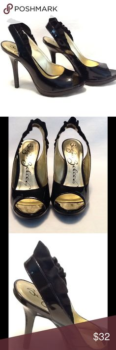 "Sergio Zelcer black patent peeptoe  4"" heels Super cute pair of black patent leather peep toe heels ,with a 1/2"" platform .Ankle strap has a suede leather ruffle. Great condition ,worn very little? Size 6 Shoes Heels"