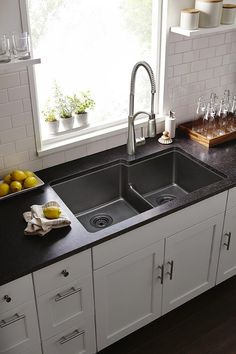 Buy the Elkay Bisque Direct. Shop for the Elkay Bisque Quartz Classic Double Basin Granite Composite Kitchen Sink for Undermount Installations with Split and Aqua Divide and save. Big Kitchen, Kitchen On A Budget, Kitchen Shelves, Kitchen Decor, Kitchen Design, Kitchen Cabinets, Black Quartz Kitchen Countertops, Granite Sinks, Awesome Kitchen
