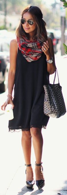 fashion-Black dress with lace bottom trim and scarf red, white, black