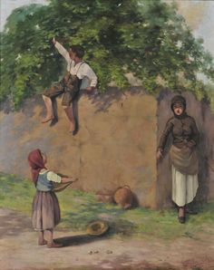 Polychronis Lembesis - Peasant woman chasing children stealing her apples 1884 Classical Period, Classical Art, Figure Painting, Painting & Drawing, Greek Paintings, Mediterranean Art, Kids Stealing, Hellenistic Period, 10 Picture
