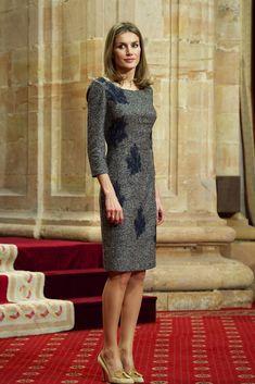 Queen Letizia chose a gray sheath dress with blue embroidery and tasseled nude pumps for the Principes de Asturias Awards.