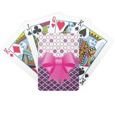 Two Tone Mauve Pattern Playing Cards Pretty pattern in two colours and designs of mauve. A big pink bow completes the look #poker