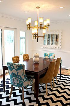 Love the mismatched chairs but might be too cool for us #dinning #chevron #chairs