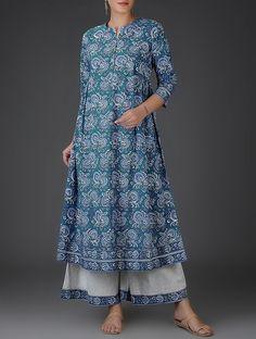 Indigo Block-Printed Flared Cotton Kurta with Gathers Salwar Designs, Kurta Designs Women, Kurti Designs Party Wear, Blouse Designs, Kalamkari Dresses, Kurta Neck Design, Indian Designer Outfits, Designer Dresses, Stylish Sarees