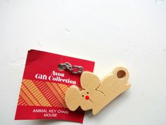 Vintage Avon Wooden Mouse Keychain 1980s by WylieOwlVintage, $4.50