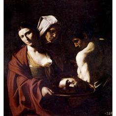 Salome with head of John The Baptist by Michelangelo Caravaggio 1571-1610 Canvas Art - Michelangelo Caravaggio (18 x 24)
