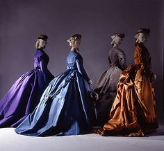 Silk dresses c. 1867 - looks like a color fashion plate from Godey's Lady's Magazine!