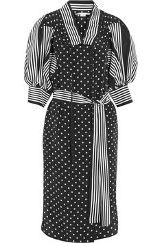 Stella McCartney's 'Valeria' dress is cut from fluid monochrome silk. Paneled with contrasting stripes and polka-dots, this belted style has a loose silhouette that's accentuated by its ruffled neckline and billowy sleeves. Try styling it with a red bag as seen in PORTER's 'Fashion Memo' feature.