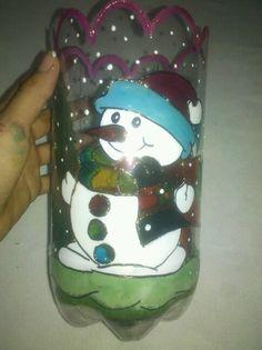 Con botellas plasticas Faroles navideños