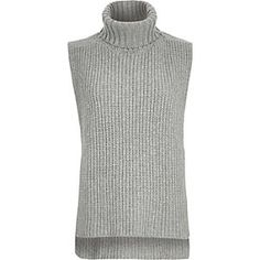 Grey knitted longline collar