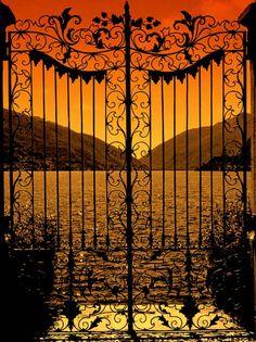 Sunset through beautiful iron gates ~ Lake Como, Italy Iron Gates, Garden Gates, Of Wallpaper, Doorway, Belle Photo, Windows And Doors, Beautiful World, Beautiful Scenery, Beautiful Sunset