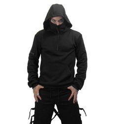NECESSARY EVIL THOR HOODIE    Impressive mens black hoodie with big black half front zip and a high collar which zips up to partially cover your face, ninja style! There is also a front pocket and a pocket on the arm with a chunky black zip. The hem and cuffs are edged with comfy ribbing.