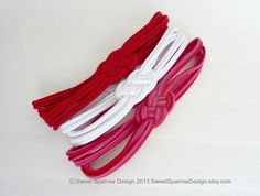 Valentine colors Sailor Knot UPCYCLED Tshirt Stretch Headband by SweetSparrowDesign, $10.00