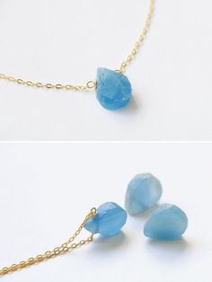 Blue calcite necklace Raw crystal necklace by VermeerJewellery
