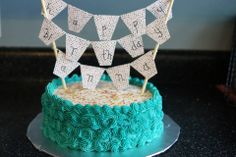 Banner and Sprinkles Birthday Cake