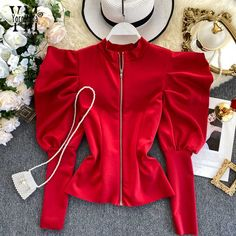 YornMona Good Quality Zipper Design Puff Sleeve Blouse Shirt Gothic Ins Fashion Spring Autumn Red Women Tops Ladies Top Blusas - AliExpress Girls Fashion Clothes, Teen Fashion Outfits, Look Fashion, Girl Fashion, Fashion Spring, Ladies Fashion Tops, Casual Clothes, Cute Casual Outfits, Fashion Beauty