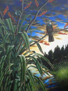 Richard Moore - New Zealand Artist Nz Art, Art For Art Sake, Art Maori, Tui Bird, I Like Birds, Forest Mural, New Zealand Landscape, Bird Sketch, School Murals